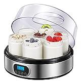 Yogurtera con Receta, Máquina Eléctrica para Hacer Yogur con 7 Tarros de Vidrio(1400ml) y Pantalla LED...